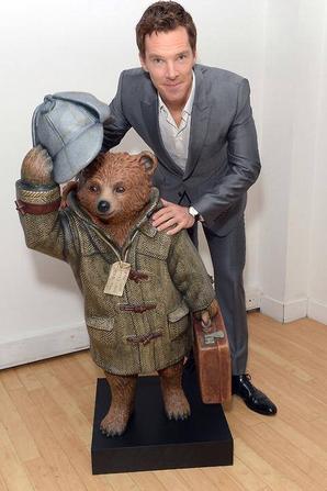 Benedict avec l'ours Paddington habillé en Sherlock