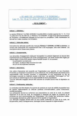 Mauriac Fête les 50 Ans de la RENAULT 8 GORDINI