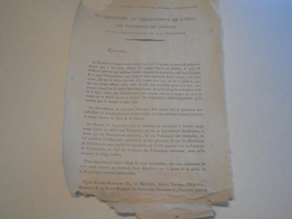 document d alencon du 1792 l an 1 de la republique