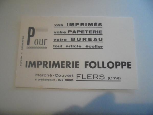 buvard imprimerie FOLLOPPE à FLERS