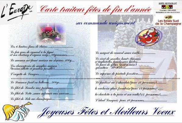 voici les menus et la carte traiteur pour les fêtes de fin d'années