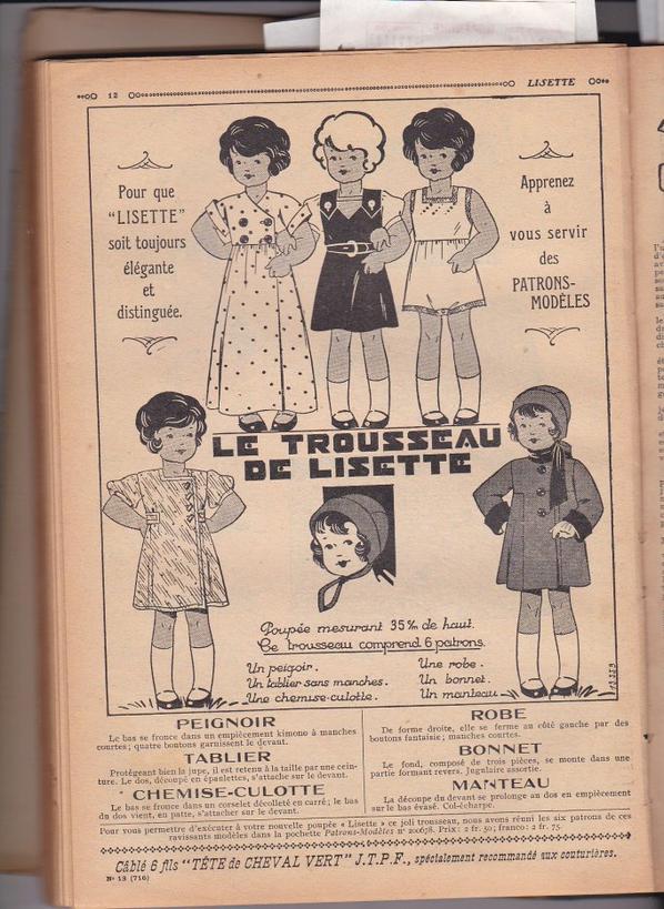Des patrons pour la poupée Lisette