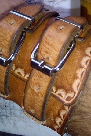 Bracelet de force cuir à 2 sangles avec nom prénom