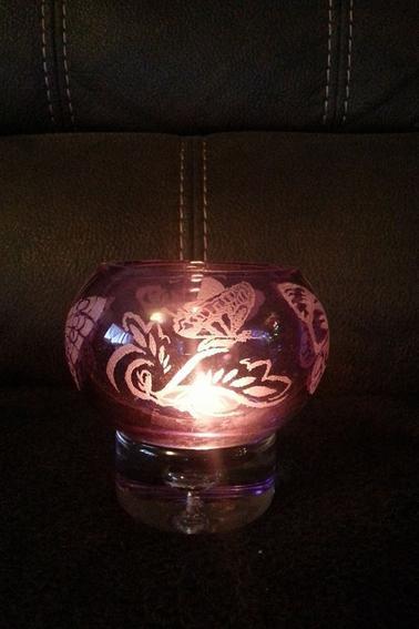 Photophore boule violet thème papillon