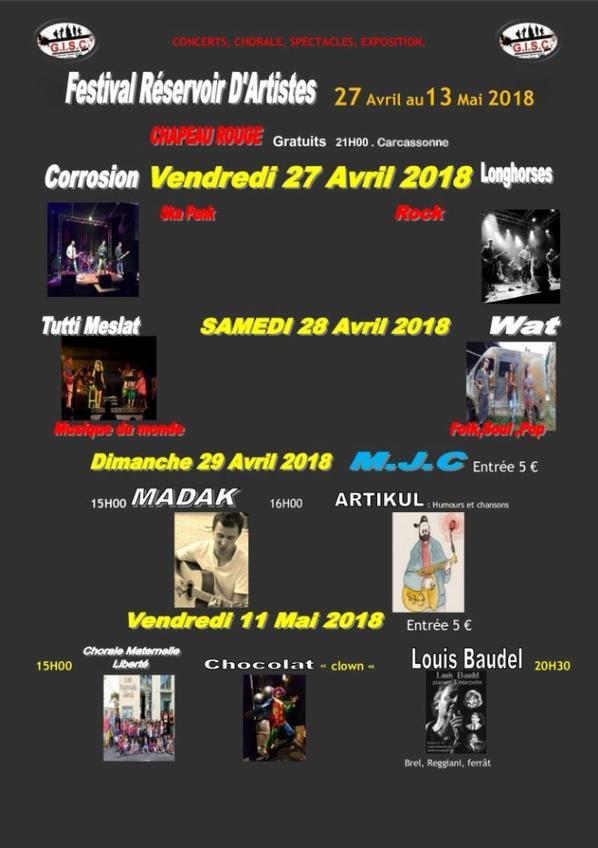 FESTIVAL RÉSERVOIR D'ARTISTES :  DU 27 AU 13 MAI 2018   A L'OCCASION DU 11 FORUM G.I.S.C   CONTRE L'ISOLEMENT DES PERSONNES DÉPENDANTES
