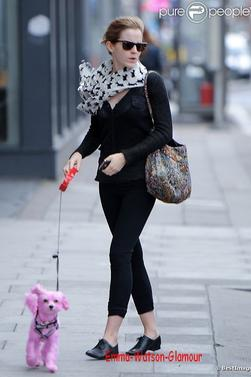 Emma Watson se promène à Londres, le vendredi 22 juin 2012 .J'adore son écharpe! , elle se proméne avec le chien Darcy qui à été peint en rose pour la lutte contre le cancer du sein !! <3