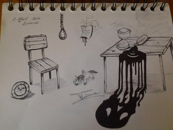 Voilà deux dessins que j'ai fais ces vacances ici :)