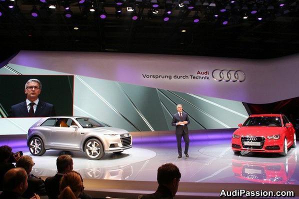 Les portes du Mondial de l'automobile de Paris 2012 vient d'ouvrir aujourd'hui ses portes. Audi y est naturellement présent avec beaucoup de nouveautés : S3, A3 Sportback, RS 5 Cabriolet, R8 restylés, SQ5, SQ5 exclusive concept et le concept Audi crosslane coupé.