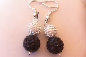Ensemble shamballa collier boucle oreille et bracelet noir et cristal