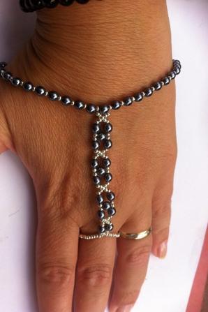 Bague bracelet perle et argent