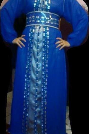 Caftan mousseline Bleu roi / Argenté