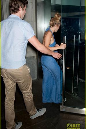 Miley Cyrus: Denim Jumpsuit with Liam Hemsworth!