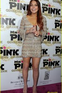 Lindsay Lohan Debuts New Red Hair at Mr. Pink Event