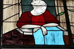 127 - pose des vitraux, thème le retour du travail   N.P.D.C. à St Amé  lievin -