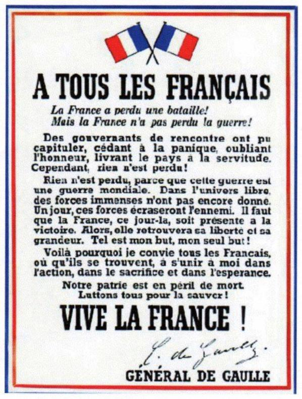 """commémoration de l""""appel du18juin 1940"""