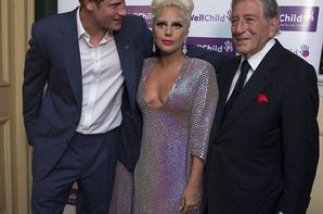 Le Prince Harry rencontre Lady Gaga et Tony Bennett avant le concert de gala en faveur des WellChild au Royal Albert Hall le 8 Juin 2015 à Londres, en Angleterre.