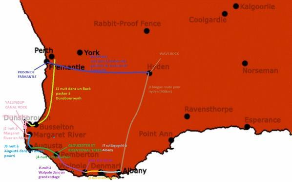 Voyage ua sud de Perth du 2 au 10 Juillet