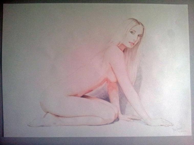 Tendresse et nudité ~ tableau réaliste grand format
