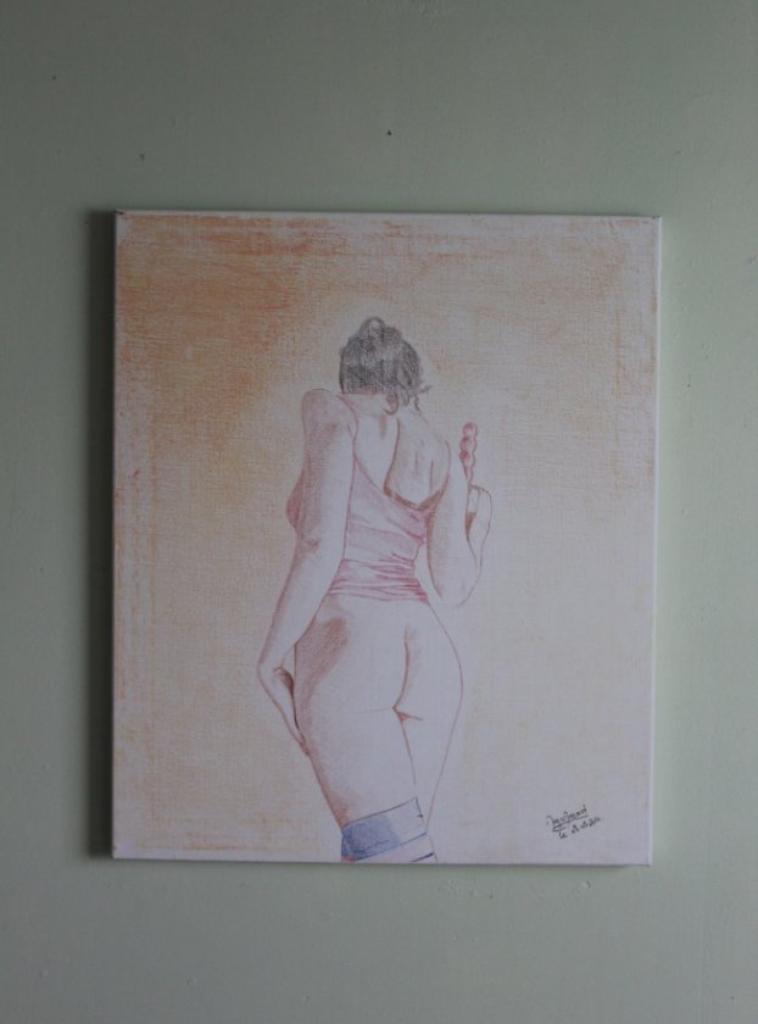 Plaisir défendu - Tableau réaliste toile lin 55x46 cm - couleur
