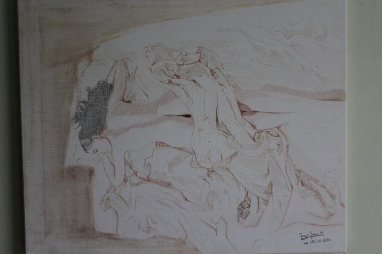 Tendresse et sensualité - Tableau réaliste - Toile lin 55x46 cm - Couleur & Pastel