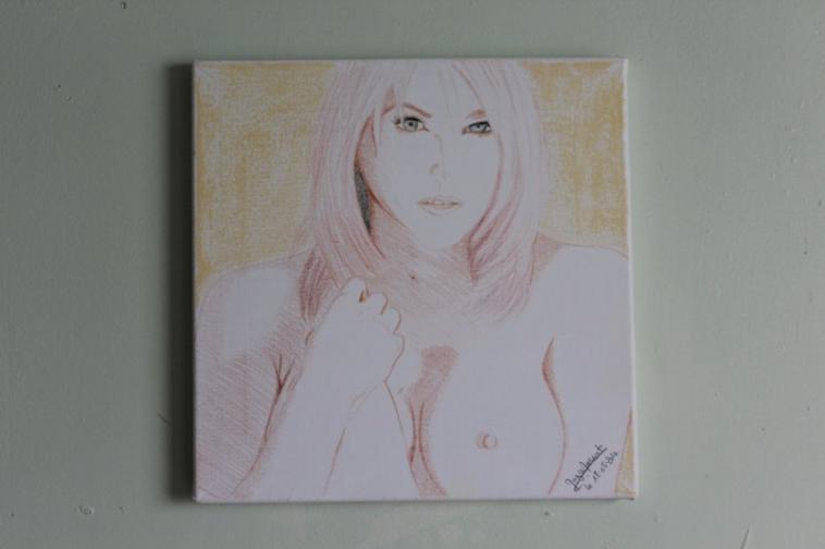 Timidité - Tableau réaliste toile Coton 30x30 cm - Couleurs & Pastel - nu
