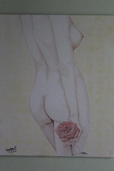 Femme à la rose - tableau réaliste - Toile lin 55x46 cm - Couleurs & Pastel