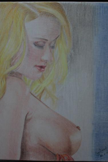 Sensualité - Dessin réaliste - Dessin sur toile 6F (33x41 cm) - Crayons de couleurs.