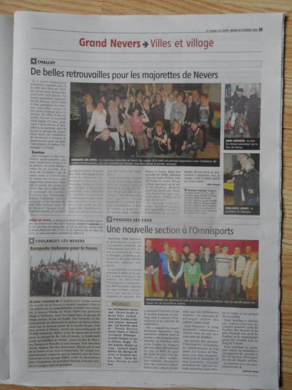 ARTICLE DU JOURNAL DU CENTRE DU 28 OCTOBRE 2014.