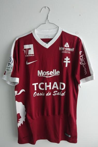 Maillot FC Metz porté par H. Diallo en championnat face à Nantes durant la saison 16/17