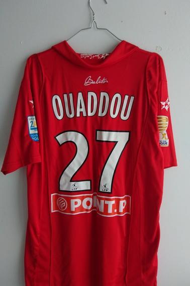 Maillot AS Nancy Lorraine porté par A. Ouaddou lors des 1/8èmes de finale de coupe de la Ligue face au TFC durant la saison 09/10
