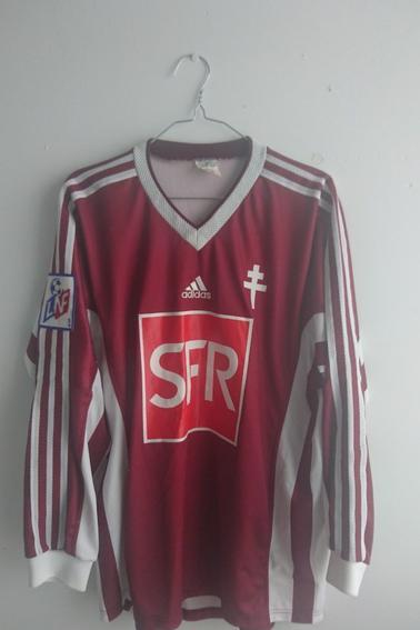 Maillot FC Metz porté par S. Schemmel lors des 1/4 de finale de coupe de la Ligue face à Toulouse durant la saison 98/99