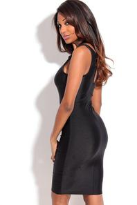 Black Front Keyhole Crossover Neck Bodycon Dress