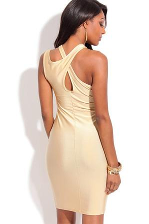 Champagne Keyholes Crossover Neck Bodycon Dress