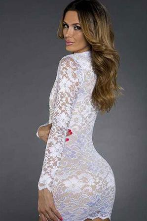 Sexy Rhinestones White Lace Hollow-out Bodycon Dress