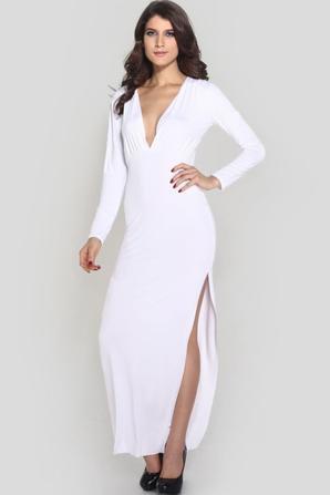 Blanc à manches longues col V de Split Maxi Dress