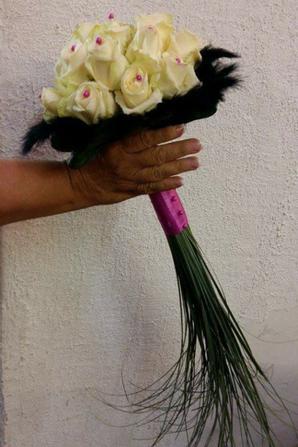 Bouquet de mariée avec plumes