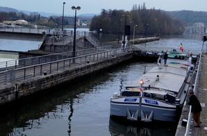 Avant dernier voyage de l'année sur la haute Meuse pour le COBRA, de retour de Givet avec 250t. d'orge pour Lieshout (NL)