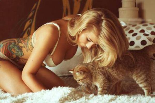 Bad girl and her cat