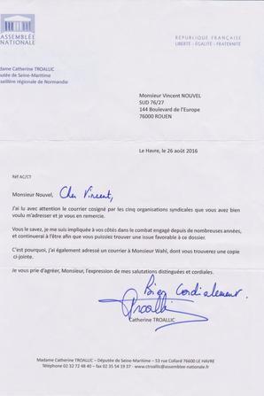 Reclassé(e)s PTT : Catherine TROALLIC (PS) Députée de la Seine Maritime