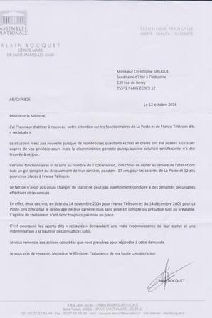 Reclassés PTT : Alain Bocquet (Député Nord) interpelle C Sirugue (Ministre de l'Industrie)