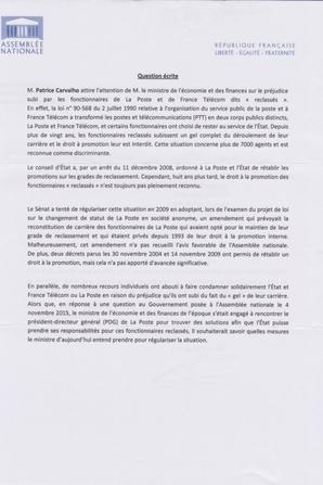 Reclassé-e-s PTT : Patrice CARVALHO (Député Oise) Question écrite Sep 2016