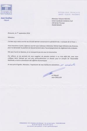 Reclassés ex-PTT : Jean Grellier (Député PS 79) septembre 2016