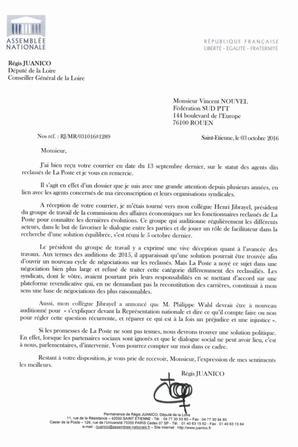 Reclassés PTT : Régis Juanico (Député Loire 42)