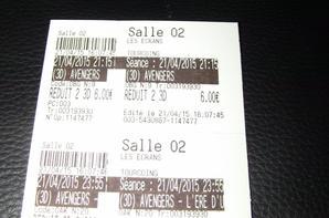 Avengers 1 et  2 les tickets