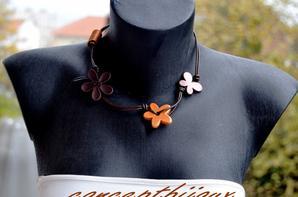 collier cuir et ceramique