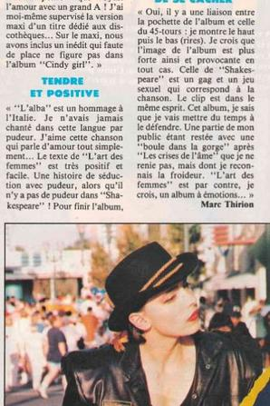 """En attendant des news... - Semaine spéciale album """"L'ART DES FEMMES"""" (1990)  avec :   - Décryptage, titre par titre, de l'album  par Jeanne elle -même - Des critiques de l'album,  - des interviews d'époque...  (suite et fin - 3/3)"""