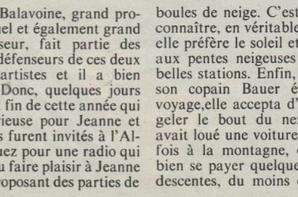 "[Article de presse - 1985] -  ""JEANNE MAS - Axel Bauer, week-end à la neige"" Reportage"