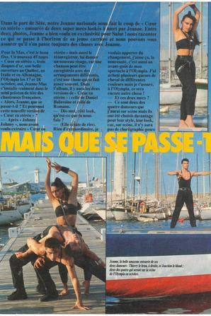 """Article de presse - Reportage du magazine """"Salut""""  avec JEANNE et ses danseurs en 1985"""
