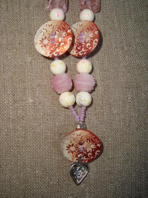 Collier boutons Rose