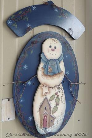 """Plaque de bienvenue """"Bonhomme de neige"""" modèle de JMP..."""